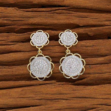 53738 CZ Short Earring with 2 tone plating