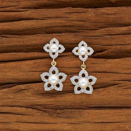 53739 CZ Short Earring with 2 tone plating