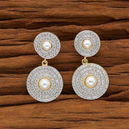 53740 CZ Short Earring with 2 tone plating