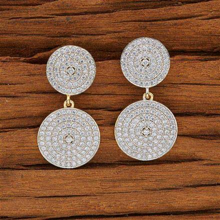 53741 CZ Short Earring with 2 tone plating
