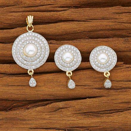 53747 CZ Delicate Pendant Set with 2 tone plating