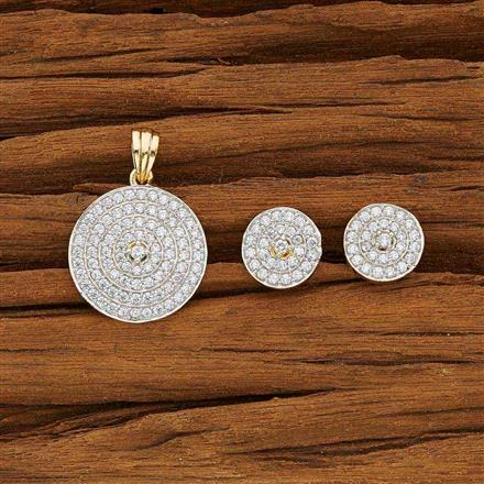 53748 CZ Delicate Pendant Set with 2 tone plating