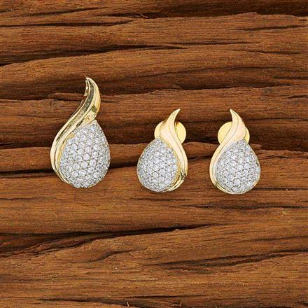 53751 CZ Delicate Pendant Set with 2 tone plating