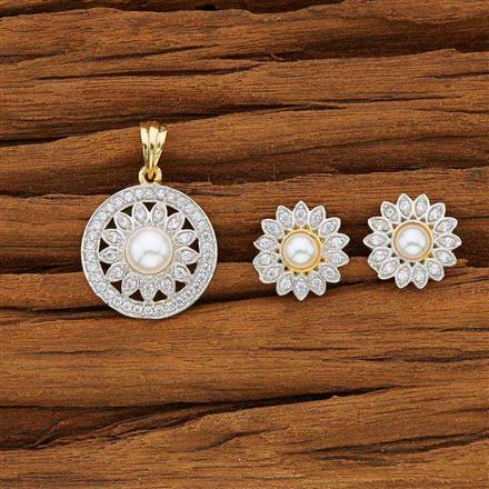 53755 CZ Delicate Pendant Set with 2 tone plating