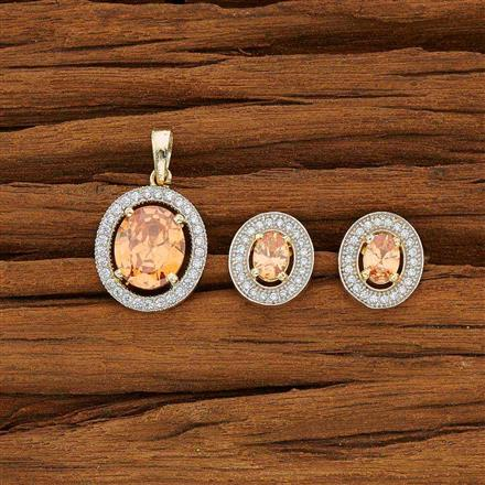 53759 CZ Delicate Pendant Set with 2 tone plating
