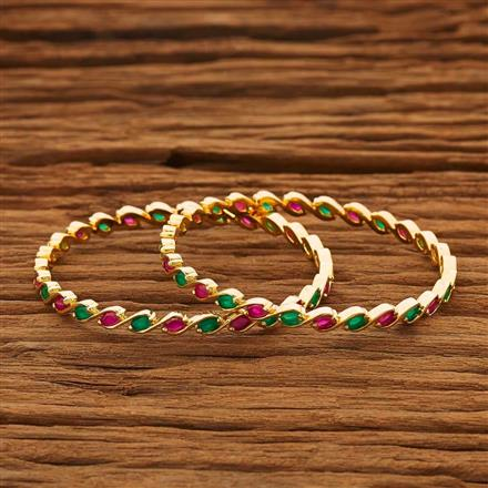 53764 CZ 2 Pc Bangle with gold plating