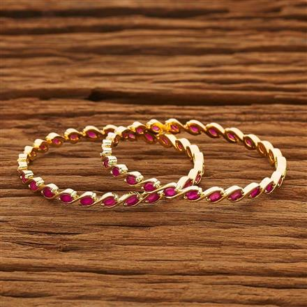 53765 CZ 2 Pc Bangle with gold plating