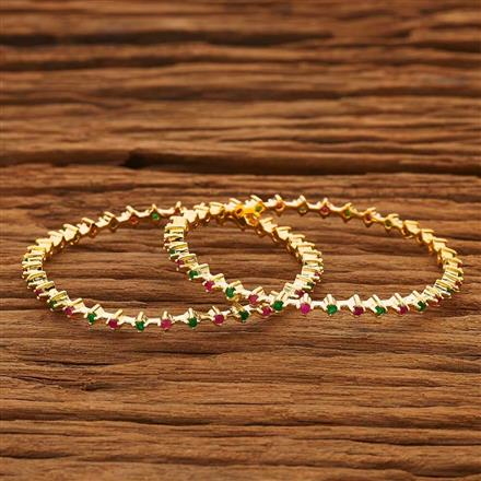 53766 CZ 2 Pc Bangle with gold plating
