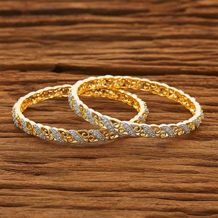 53767 CZ Classic Bangles with 2 tone plating