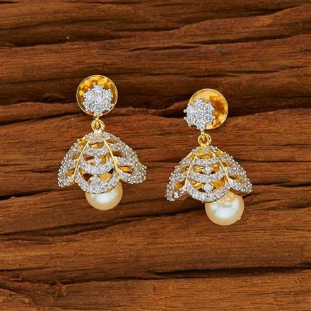 53809 American Diamond Jhumki with 2 tone plating