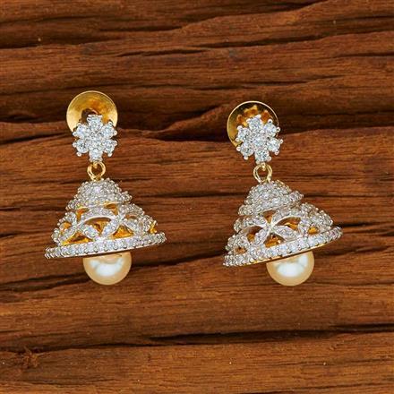 53810 American Diamond Jhumki with 2 tone plating
