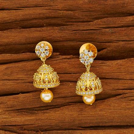 53813 American Diamond Jhumki with gold plating