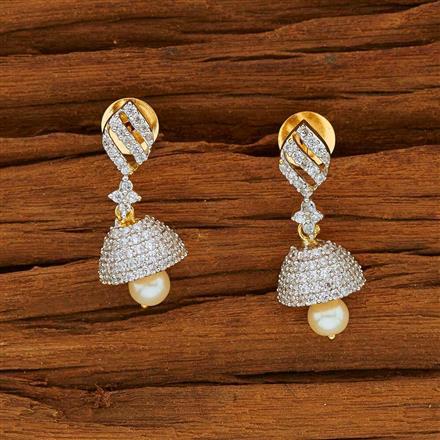 53814 American Diamond Jhumki with 2 tone plating