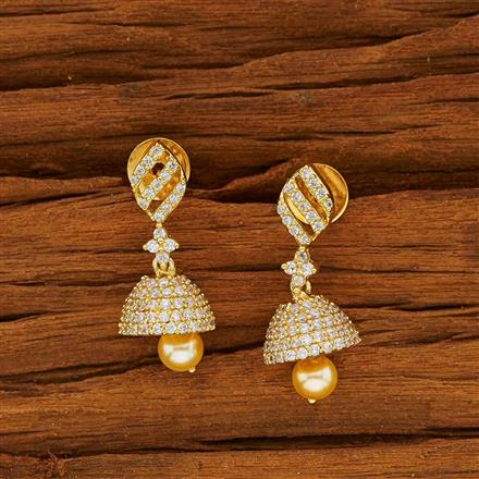 53815 American Diamond Jhumki with gold plating
