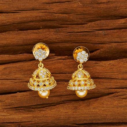53817 American Diamond Jhumki with gold plating