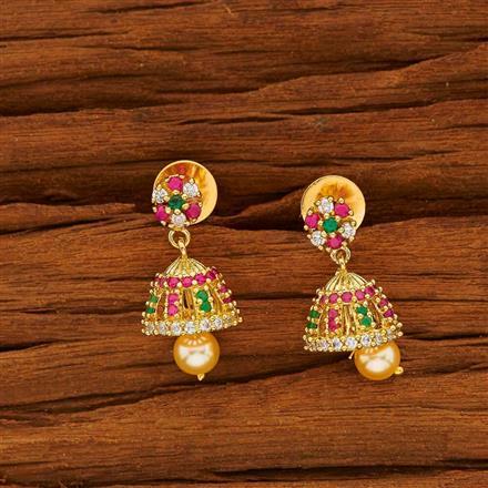 53818 American Diamond Jhumki with gold plating