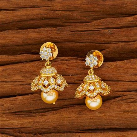 53820 American Diamond Jhumki with gold plating