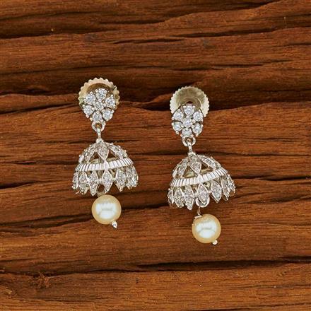 53822 American Diamond Jhumki with rhodium plating