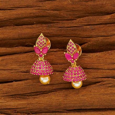 53823 American Diamond Jhumki with gold plating