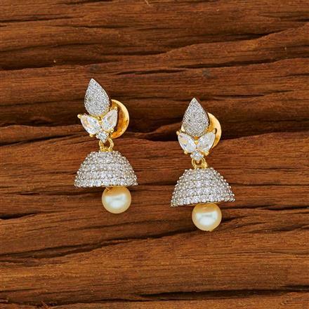 53824 American Diamond Jhumki with 2 tone plating