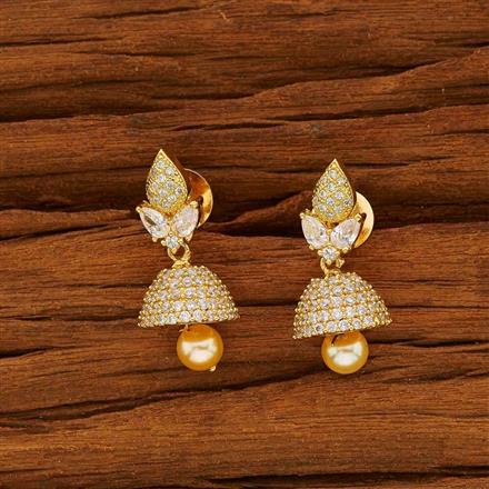 53825 American Diamond Jhumki with gold plating