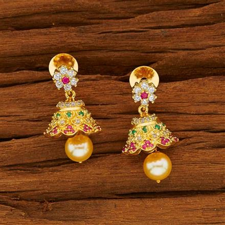 53826 American Diamond Jhumki with gold plating