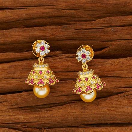 53827 American Diamond Jhumki with gold plating