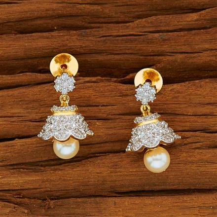 53828 American Diamond Jhumki with 2 tone plating