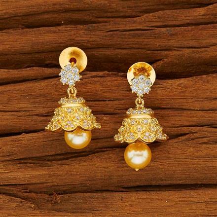 53829 American Diamond Jhumki with gold plating