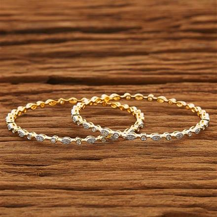 53864 CZ 2 Pc Bangle with 2 tone plating