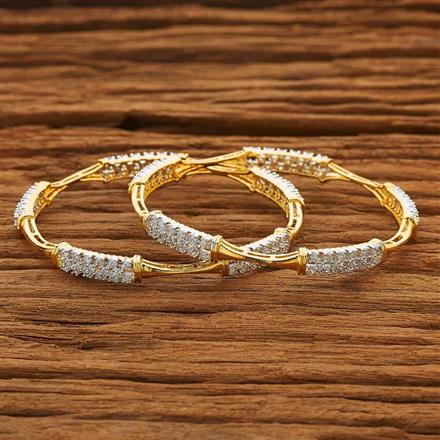 53866 CZ Classic Bangles with 2 tone plating