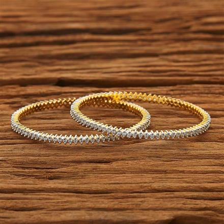 53867 CZ 2 Pc Bangle with 2 tone plating