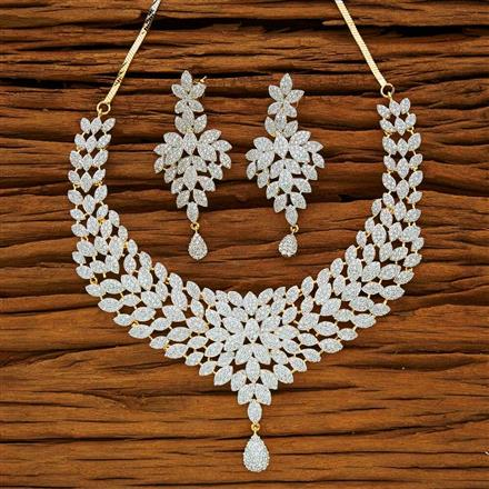 53871 CZ Classic Necklace with 2 tone plating