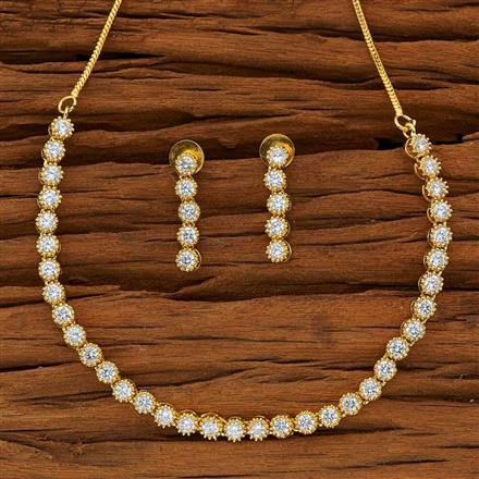 53873 CZ Delicate Necklace with gold plating