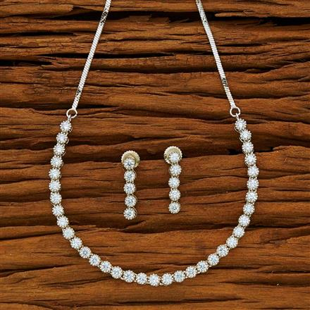 53874 CZ Delicate Necklace with rhodium plating