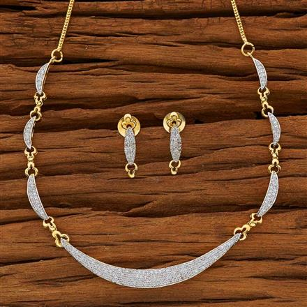 53875 CZ Delicate Necklace with 2 tone plating