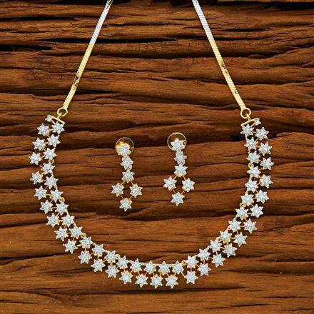 53876 CZ Classic Necklace with 2 tone plating
