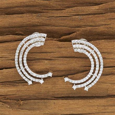 53906 CZ Chand Earring with rhodium plating