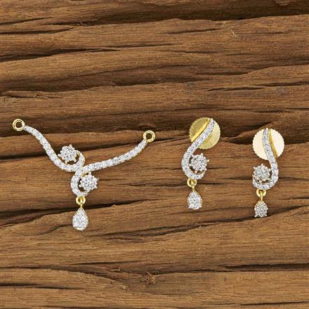 53934 CZ Delicate Mangalsutra with 2 tone plating