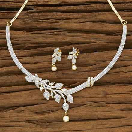 53953 CZ Classic Necklace with 2 tone plating