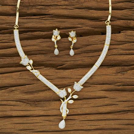 53954 CZ Classic Necklace with 2 tone plating