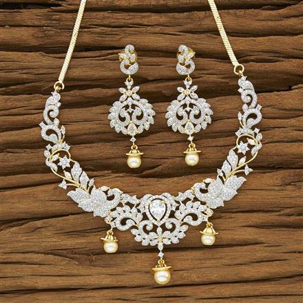 53956 CZ Classic Necklace with 2 tone plating