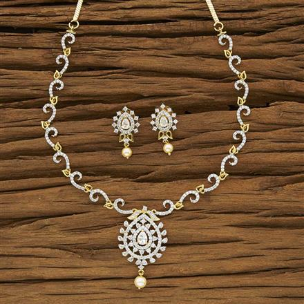 53958 CZ Classic Necklace with 2 tone plating