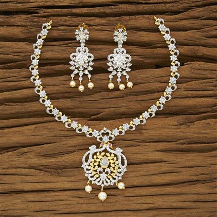 53959 CZ Classic Necklace with 2 tone plating
