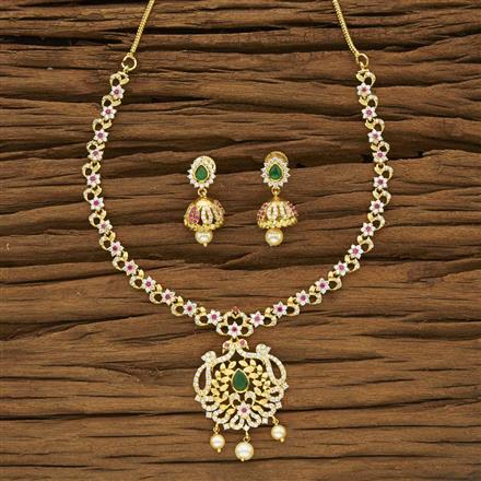53960 CZ Classic Necklace with gold plating