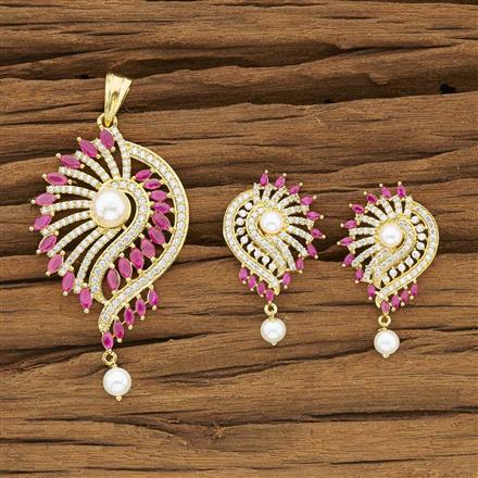 53965 CZ Classic Pendant Set with gold plating