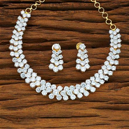 53975 CZ Classic Necklace with 2 tone plating