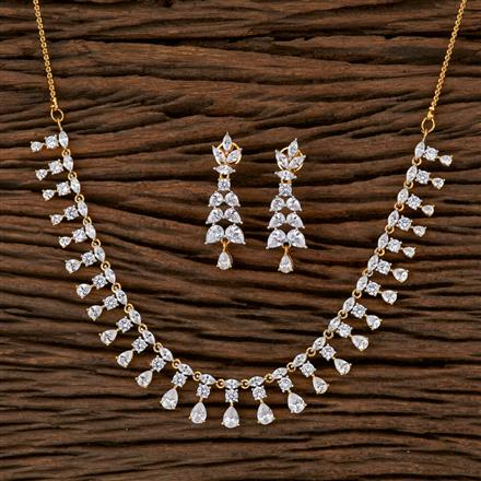 540013 Cz Delicate Necklace With 2 Tone Plating