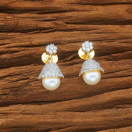 54002 CZ Short Earring with 2 tone plating