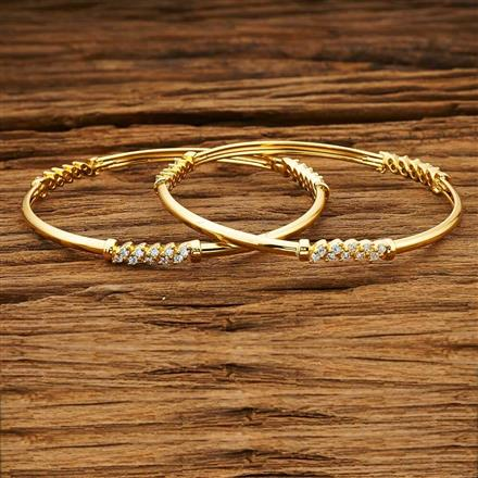 54028 CZ 2 Pc Bangle with gold plating